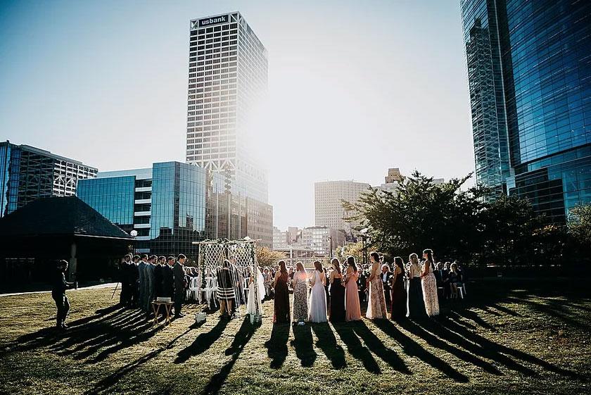 Outdoor wedding ceremony at ZLG