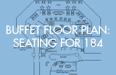 Coast floor plan for 184 guests with buffet