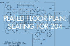 Miller Room floor plan for 204 guests with plated service